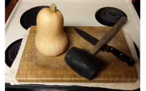 cutting winter squash
